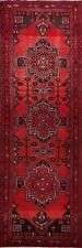 Vintage Tribal Geometric Hamedan RED Runner Rug Traditional Hand-knotted 4'x10'