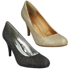 Damen Gold Schwarz Glitzer Abend Party Absatz Schuhe Spot On F9512
