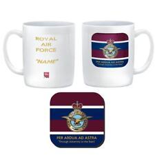 ROYAL AIR FORCE RAF CUSTOMISED Ceramic Mug &Coaster -badge on Tie Colours &Motto