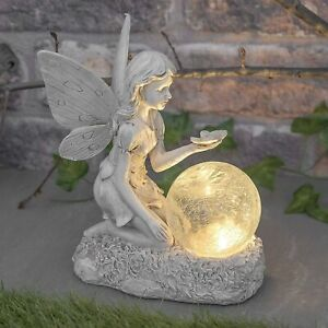 Solar Powered Fairy Angel Cherub Ornament Ball Statue Garden Figurine Sculptures