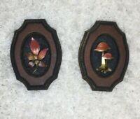 Vintage 70's Wall Hangings Art Mushroom Leaf 2 Piece Set