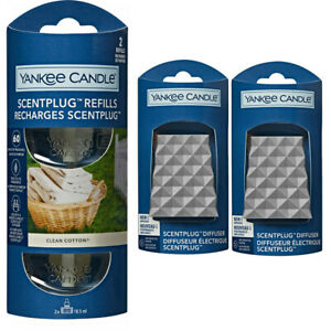 2 x FACETED plugs/REFILLS YANKEE CANDLE Scent Plug In CLEAN COTTON STARTER SET