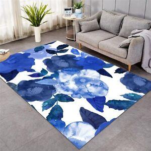 Watercolour Blue Floral Large Rectangle Rug Carpet Mat Living Room Bedroom