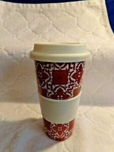 """World Market Red Orange White Mug White silicone lid and sleeve 7"""""""