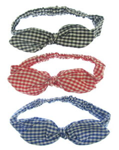 GINGHAM CHECK PRINT COTTON FABRIC WIRED BOW HAIR BAND STRETCH HEAD WRAP oa