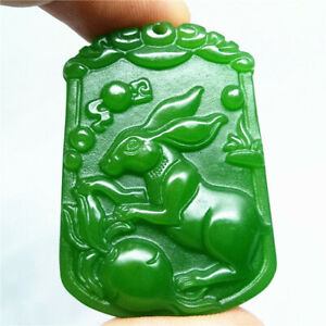 Chinese Zodiac Rabbit New pendant green China Necklaces Collection natural jade