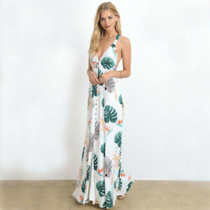 White Tropical Floral Long Summer Maxi Dress Low Cut V-Neck Plunge Beach Vacay