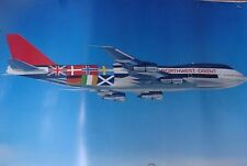 "NORTHWEST ORIENT AIRLINES POSTER ""World Flags"" TRAVEL 1980's 747 ORIGINAL DELTA"