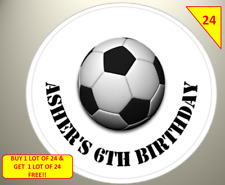 48 Personalised Labels Stickers Football Birthday Party Sweet Cone Bags Box