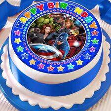 AVENGERS PRECUT EDIBLE HAPPY BIRTHDAY BLUE BORDER CAKE TOPPER ICING OR RICE