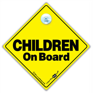 Children On Board Car Sign, Baby on Board Sign with Suction Cup, Children In Car