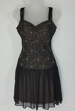 Betsey Johnson New York Women's Black Gold Lace Baby Doll Cocktail Dress S #C15