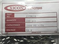 23PW210 XICON 1000pF 50V PolyStyrene Capacitor 100 Piece Lot