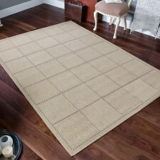Checked Flatweave Kitchen Rugs Runners Anti Slip Back GEL Beige 080 X 150 Cm