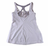 Lululemon Tank Top 6 White Metallic Silver Optimal Built In Bra Cut Out *flaw