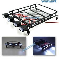 1/10 RC Metal luggage roof rack w/ led light bar For RC 4WD Axial Crawler Truck