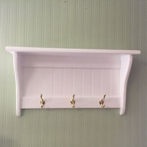 "Coat Rack Display Shelf Wood Wall Shelf Country Coat Rack 24"" Wide Brass Hooks W"
