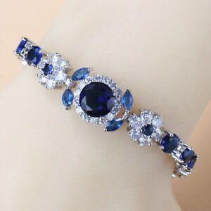 Blue Sapphire White Topaz 925 Sterling Silver Tennis Gemstone Bracelet Jewelry