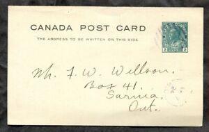 p1460 - REMO BC 1924 Split Ring (in purple) on Postal Card to Sarnia ✉