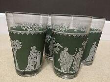 5 Vintage Jeannette Drinking Glasses Wedgwood Green Tumblers Jasperware Hellenic