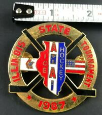 Vintage 1987 Ice AHAI Hockey Pin ILLINOIS STATE TOURNAMENT Pinback Souvenir LRG