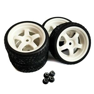 1/10 RC Road Wheels and Tyres Set WHITE 5 Spoke Tamiya TT02 TT01 w/ WHEEL NUTS