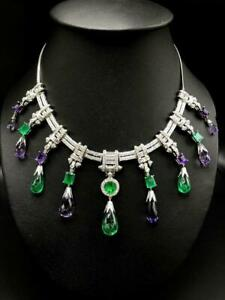 Dazzling 96.90 TCW Vivid White CZ, Amethyst & Emerald Luxury Pendant Necklace