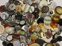 BEST MIX ON EBAY 100 pc MIXED LOT of OLD-VINTAGE & NEW Buttons ALL TYPES & SIZES