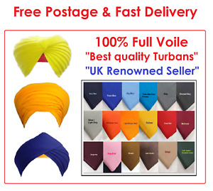 100% Full voile Sikh Turban material Pagh Dumala Parna Lining, variety of colors