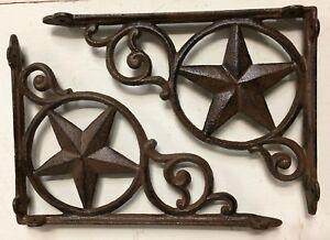SET OF 2 WESTERN STAR SHELF BRACKET/BRACE, Antique Rustic Brown patina cast iron