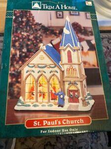 St. Pauls Church Christmas Village Porcelain Lighted Orig Box Trim A Home Rare