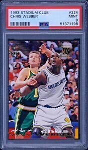 1993 Stadium Club CHRIS WEBBER #224 Rookie RC PSA 9 MINT ~ Golden State Warriors