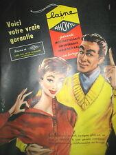 PUBLICITE DE PRESSE  RHOVYL LAINE ILLUSTRATION BLONDE FRENCH AD 1956