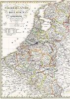 Landkarte NIEDERLANDE 165 Jahre alt 🇧🇪 BELGIQUE LUXEMBOURG 1852/55🇳🇱