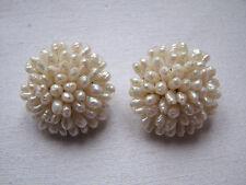 Vinatge White Freshwater Seed Pearl Cluster Earrings Clips