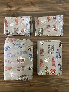 Pottery Barn Teen QUEEN Baseball Sheet Set w/pillow cases. American League MLB