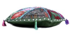 Round Cushion Cover Vintage Indian Khambadia Embroidery Patchwork Mosaic 40 CM