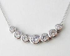 Collier Damen Kette 925 Sterling Silber Zirkonia weiß Silberkette Halskette 46cm