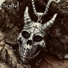 MENDEL Mens Satanic Biker Devil Skull Cross Pendant Necklace Stainless Steel Men