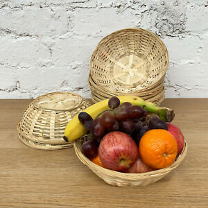 Set Of Round Woven Bamboo Fruit Snacks Bread Small Wicker Storage Gift Baskets