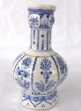 De Delftse Pauw Rare Mold 63  Delft Pottery  8 Sided Vase, Signed/Dated