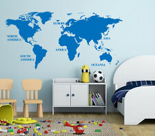 Large World Map Wall Art Vinyl Sticker, Home DIY Wall Art Decal- HIGH QUALITY