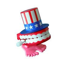 Super Fun American Flag Wind-up Walking Babbling Teeth Denture Chattering Teeth