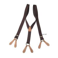Vintage 40s Style Button On Braces Suspenders/ Dark Brown & Tan