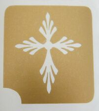 GT186 Body Art Temporary Glitter Tattoo Stencil Cross