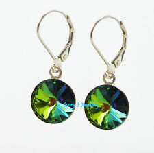 Multi Colour Blue Green Crystal Earrings Swarovski Elements 925 Sterling Silver