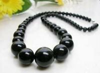 "6-14MM black Agate Round Beads Gemstone Necklace 17"" PN592"