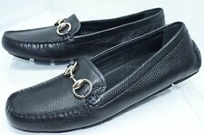 New Gucci Women's Shoes Black Flats Logo Size G 36.5 Praga Loafers Leather
