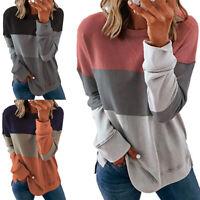 Womens Sweatshirt Ladies Striped Pullover Jumper T Shirt Tops Blouses UK TOP
