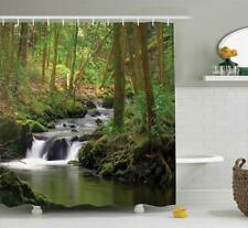 Shower Curtain Waterfall River Forest Landscape Nature Bathroom Decor Gift New